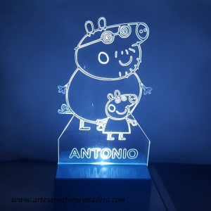 LAMPARA LED QUITAMIEDOS PEPPA PIG Y PAPA