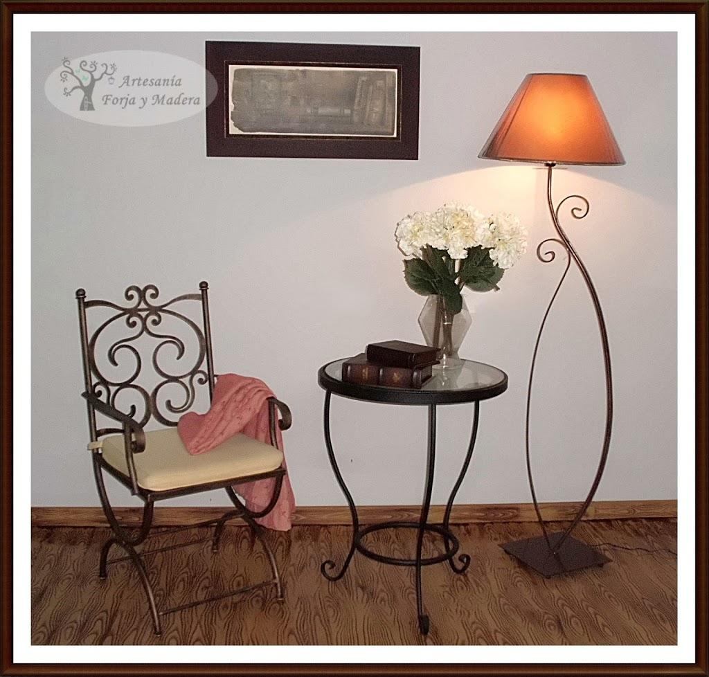 Artesan a forja y madera for Muebles industriales madera y hierro