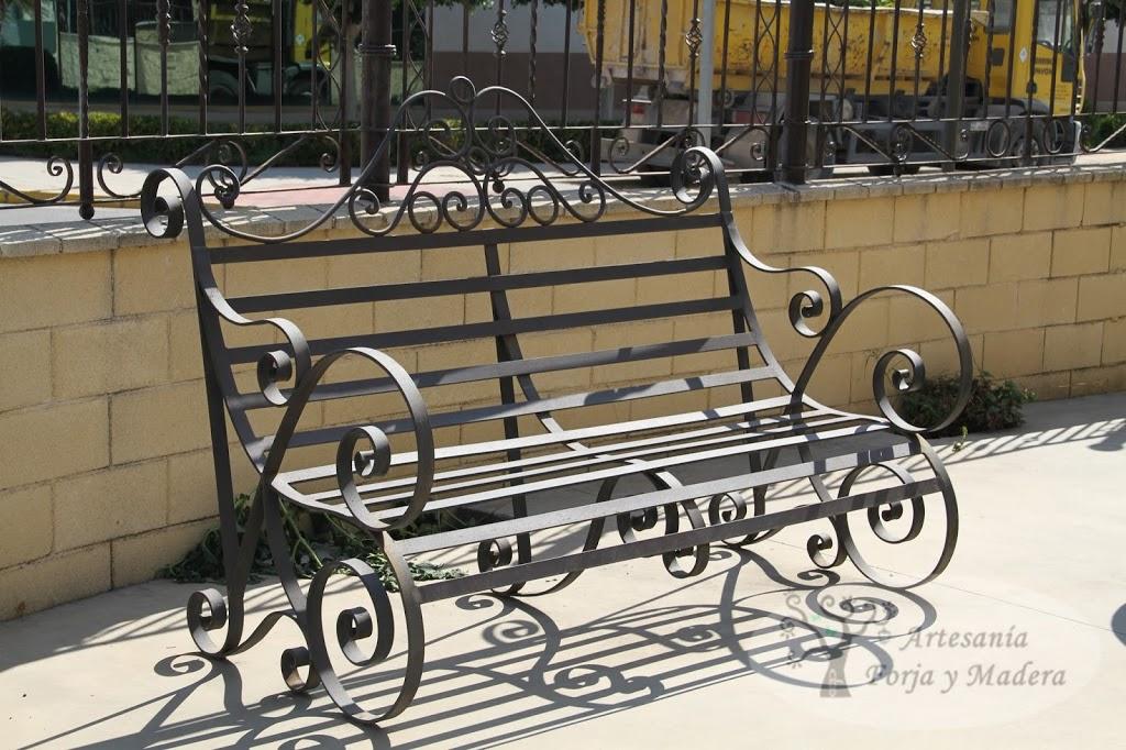 Artesan a forja y madera - Banco de forja para jardin ...