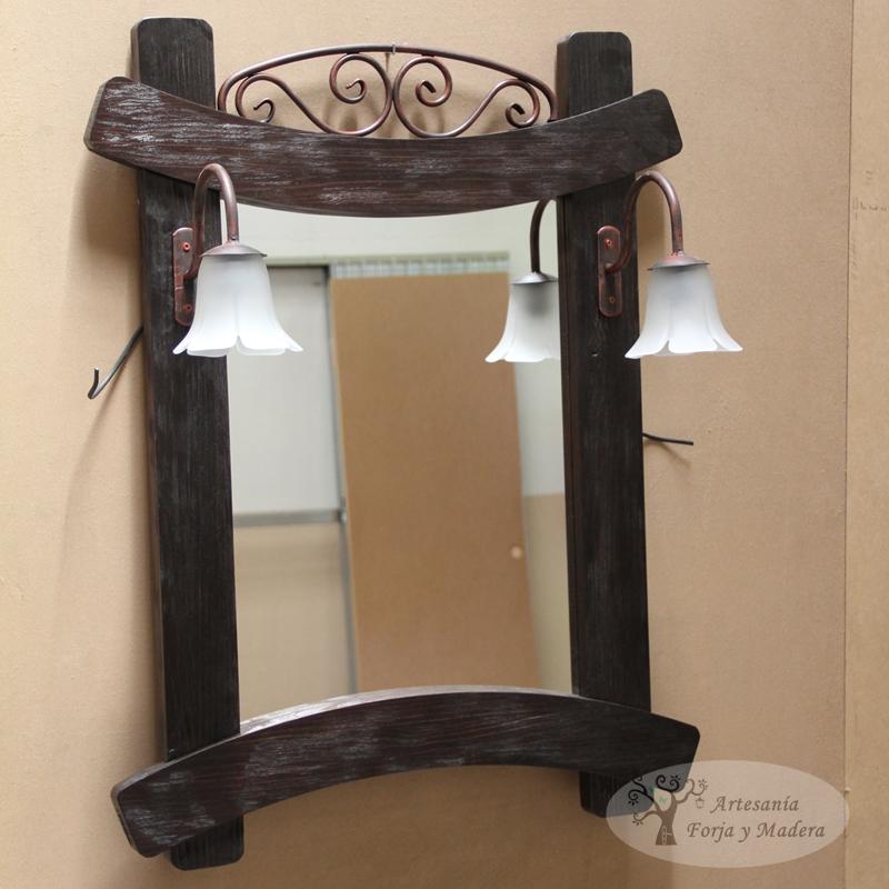 Artesan a forja y madera for Espejos de madera decorados