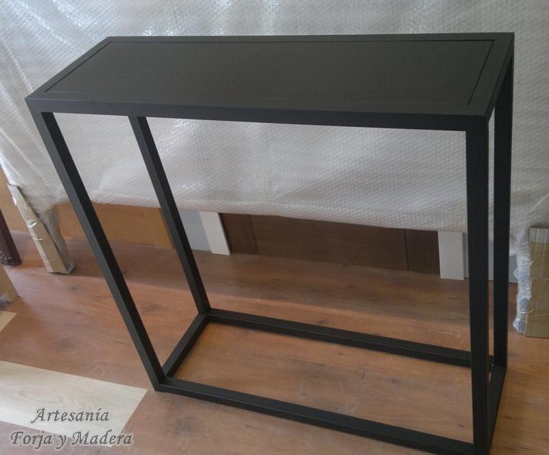 Artesan a forja y madera for Consola de tipo industrial