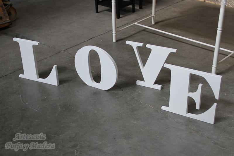 Love de color Blanco en Madera