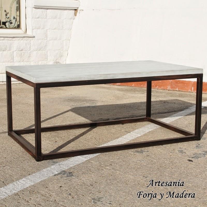 Artesan a forja y madera - Mesa centro madera y hierro ...