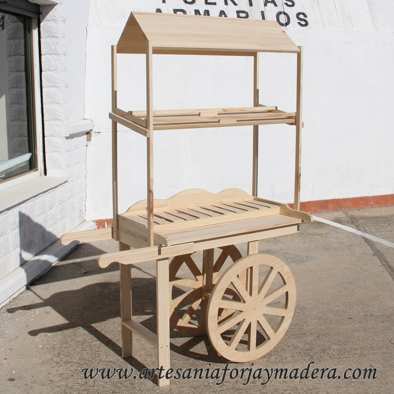 Artesan a forja y madera for Carros de madera para jardin