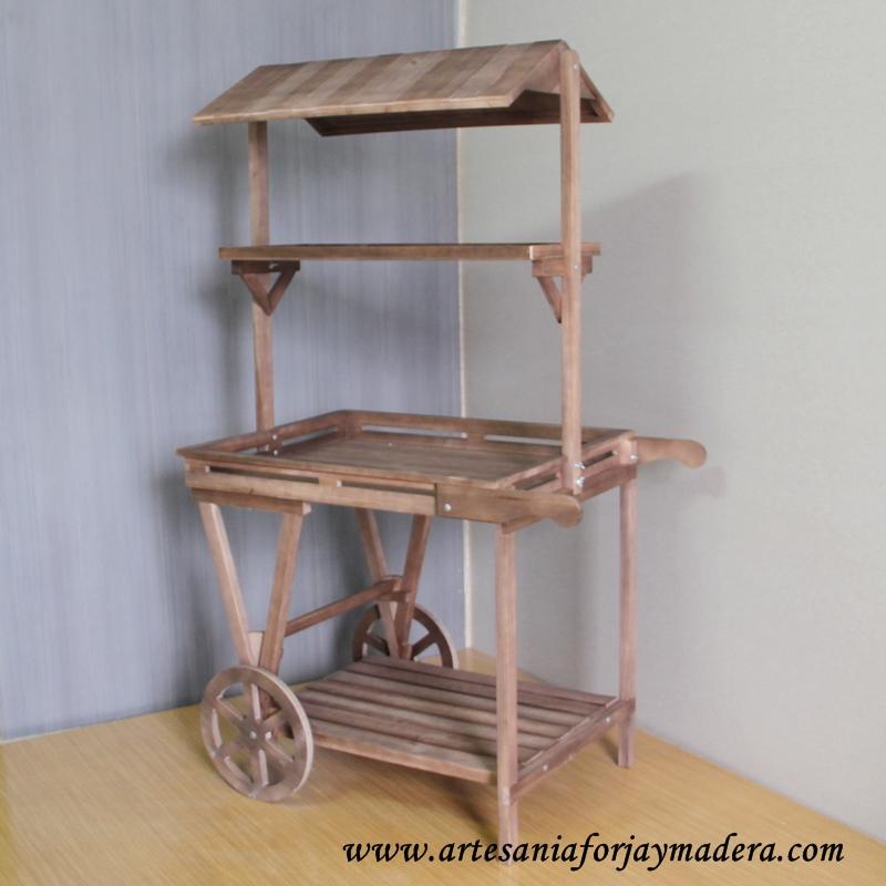 Artesan a forja y madera for Carritos de cocina de madera