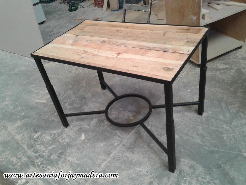 Artesan a forja y madera - Mesa de hierro ...