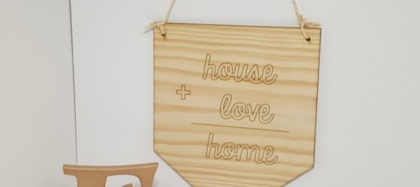 letrero madera home