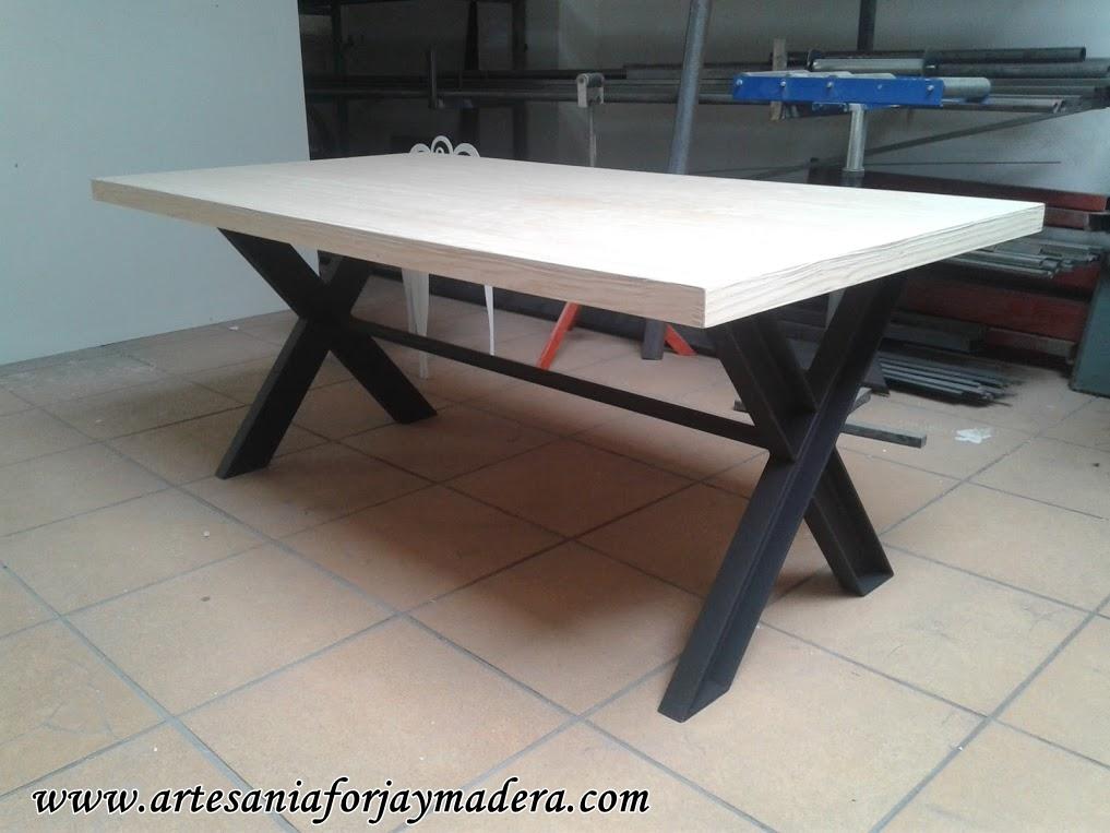 Mesas de madera y hierro modernas - Mesa de hierro ...