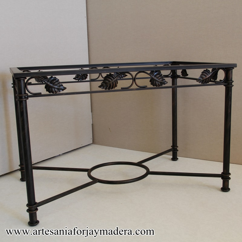 Muebles artesanos y decoraci n en hierro y madera for Mesas de hierro forjado y madera