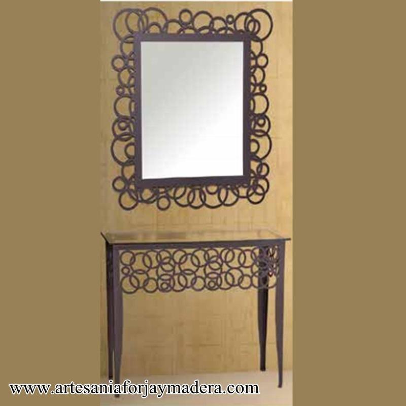 Espejo moderno de hierro for Marcos plateados para espejos