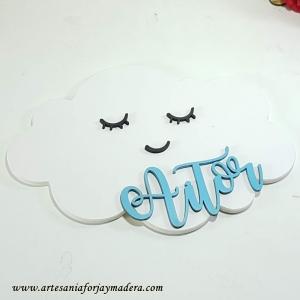 Silueta Nube con Nombre Kawaii Sencilla