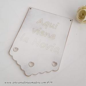Letrero / Cartel Boda Blondas Corazones