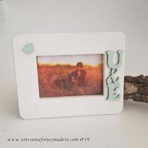 Portafotos Personalizado Iniciales Corazon Horizontal