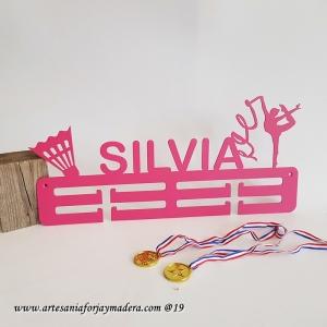 Medallero Doble 2 siluetas Badminton y gimnasia Rtimica Cinta