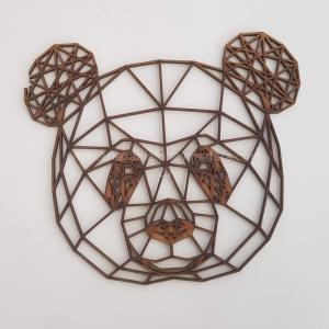 Silueta Panda geometrico madera